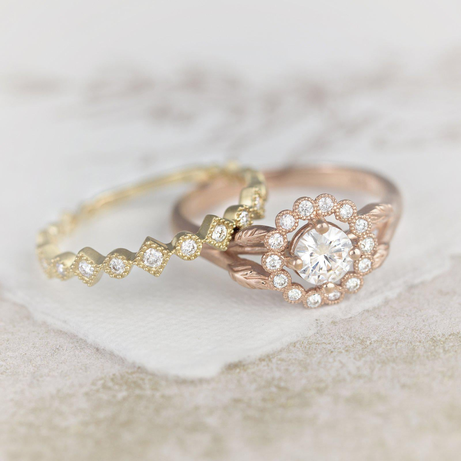 Rose gold vintage engagement rings