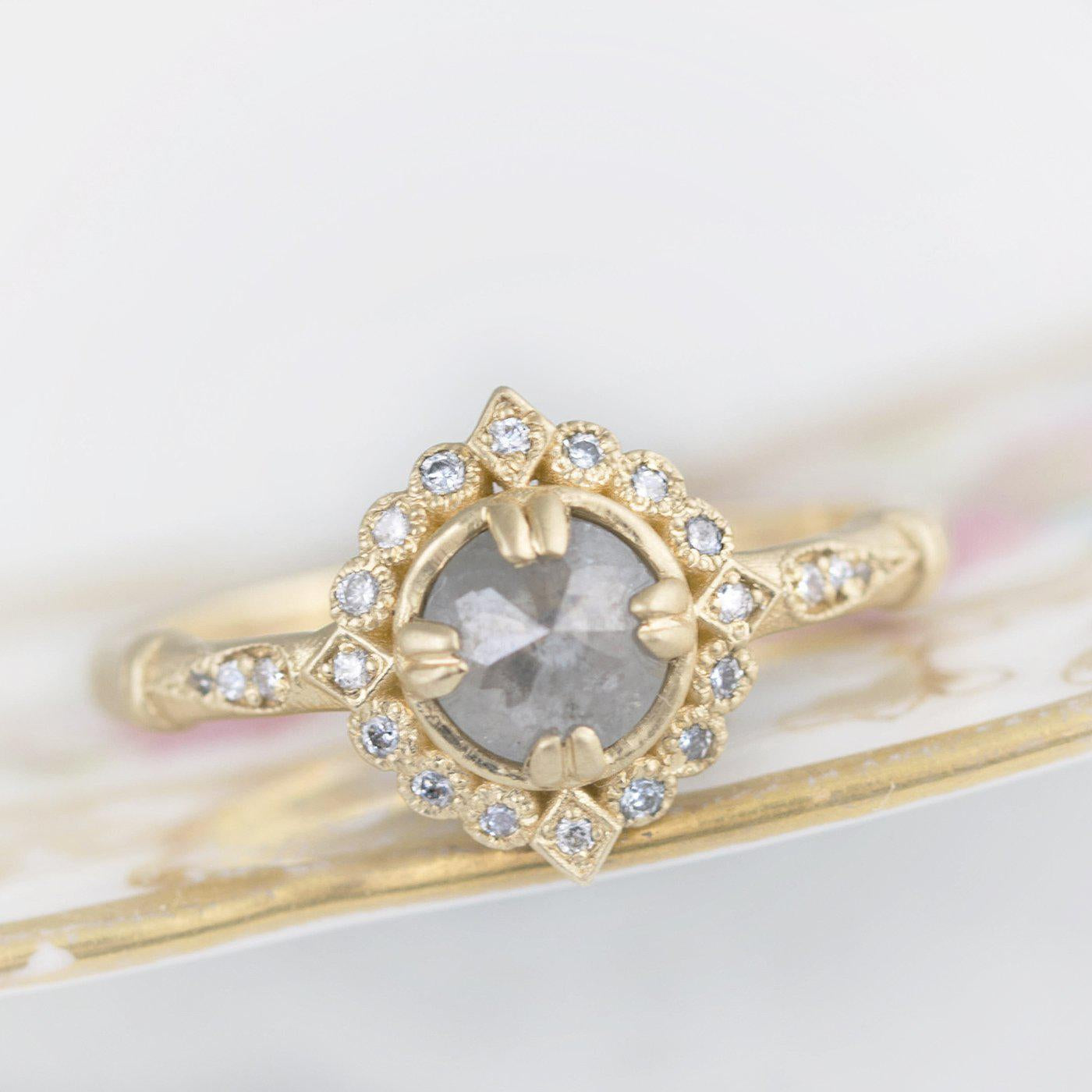 Grey Rose Cut Diamond Ring Halo Vintage