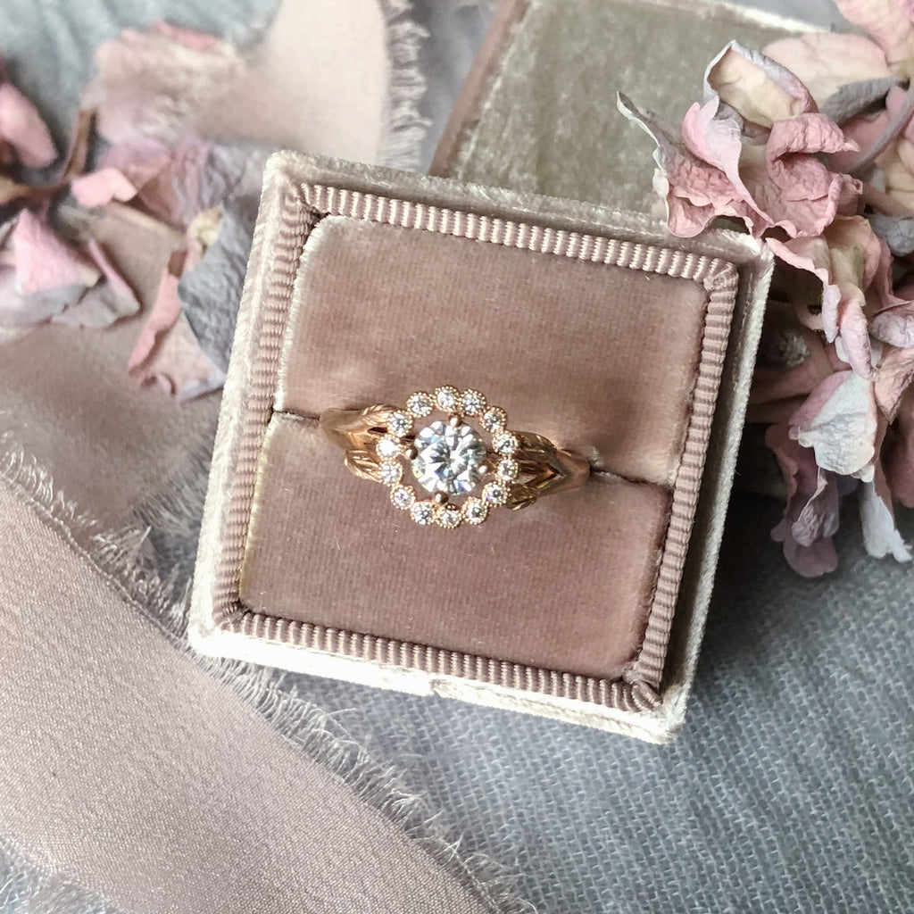 Gwendolyn Halo Rose Gold Engagement Ring