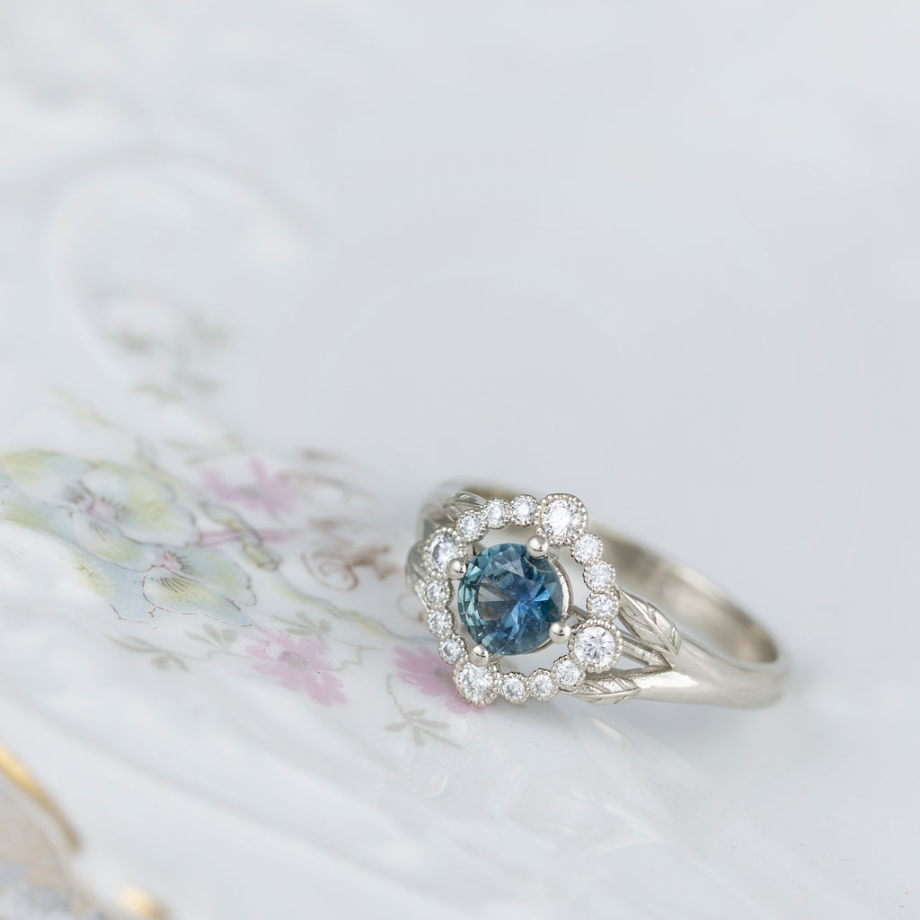 Teal Montana Sapphire Engagement Ring Affordable