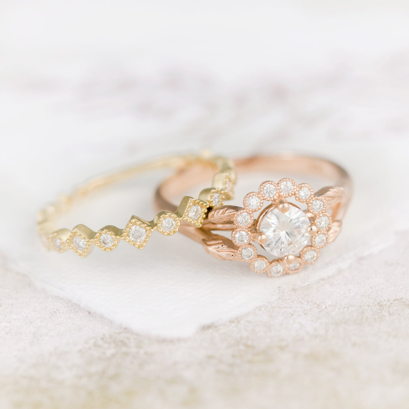 Rose Gold Vintage Halo Engagement Ring
