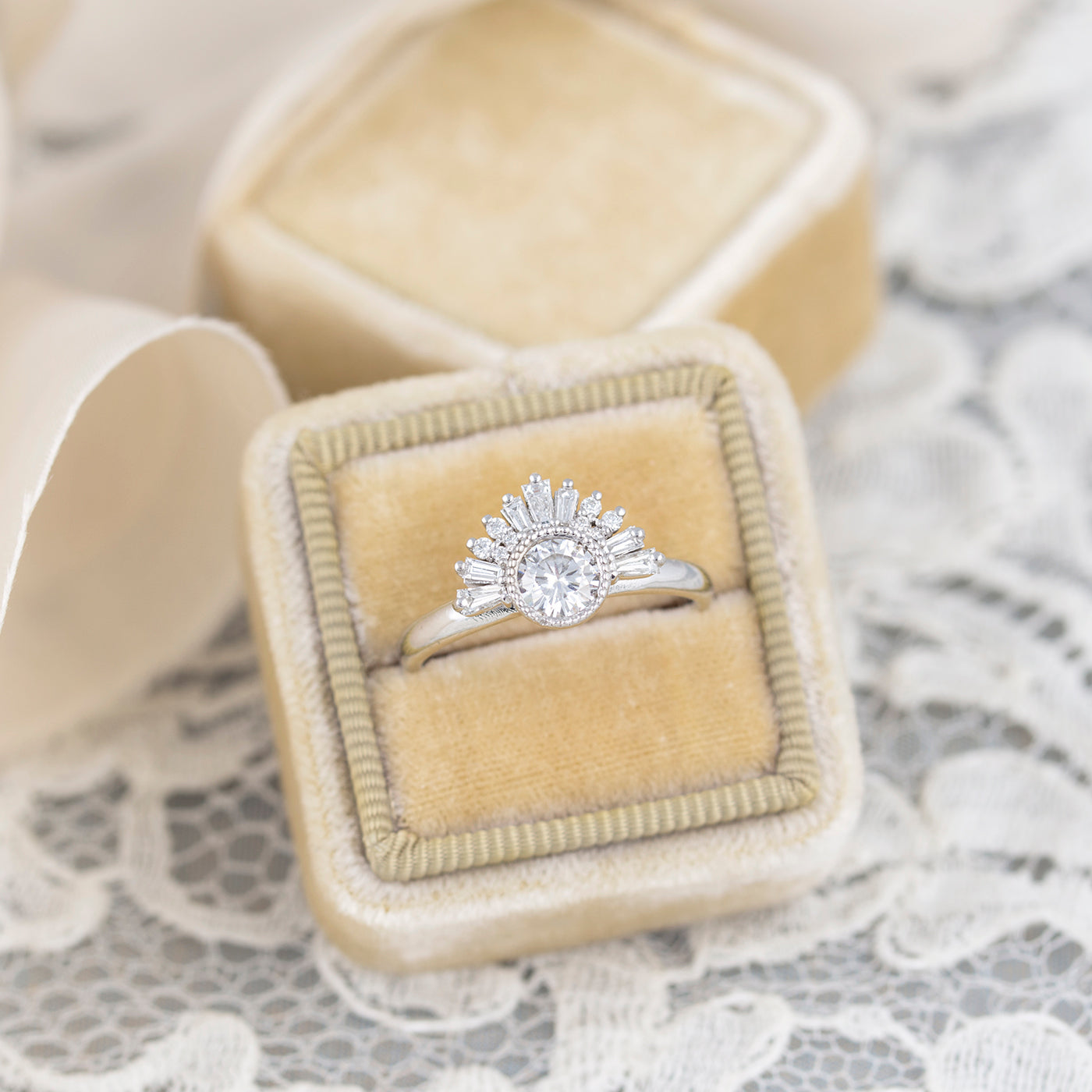 Great Gatsby Art Deco Engagement Ring Baguette