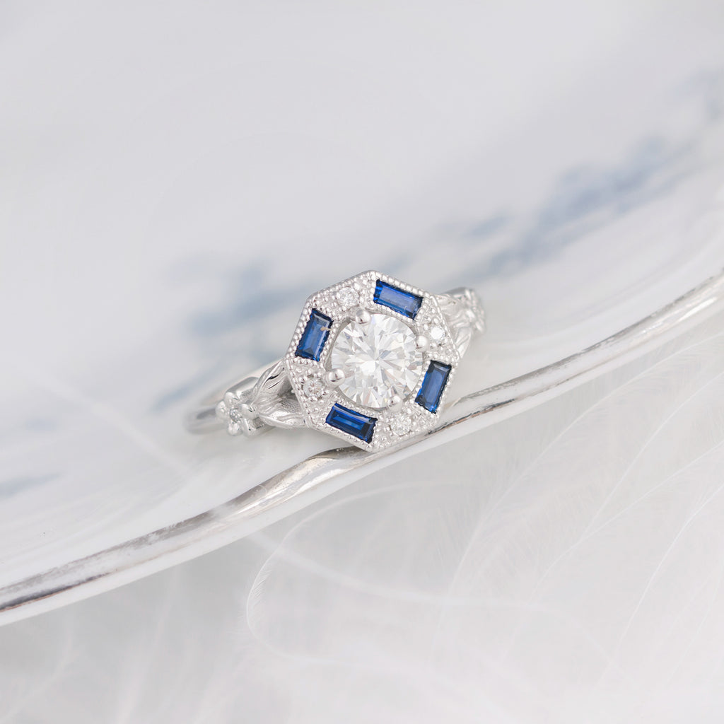 Blue Sapphire Art Deco Engagement Ring