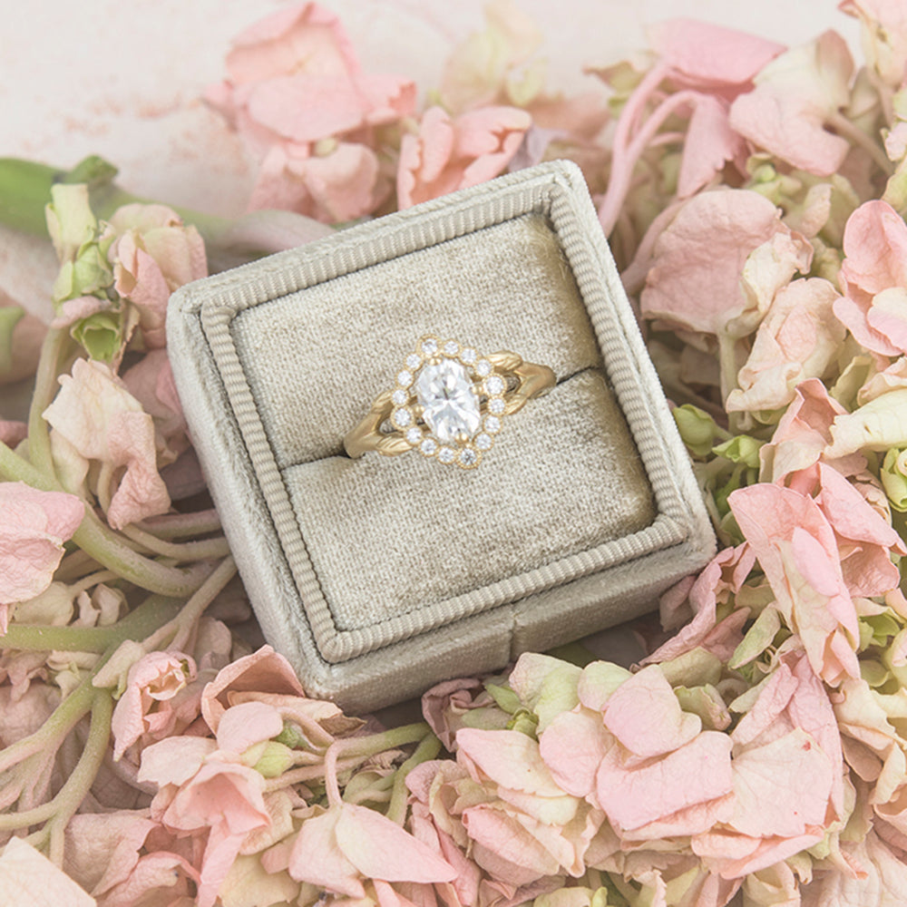 floral oval halo engagement ring
