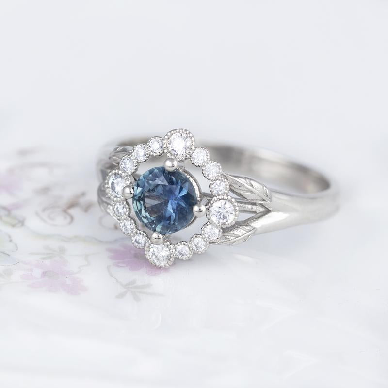 Montana Sapphire Teal Engagement Ring
