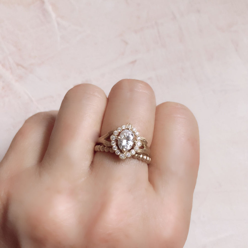 oval halo engagement ring vintage