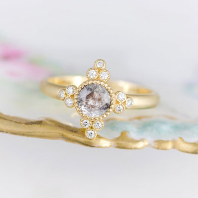 Antoinette Salt and Pepper Diamond Ring