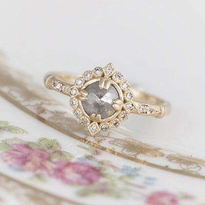 Frederica Salt and Pepper Diamond Halo Ring