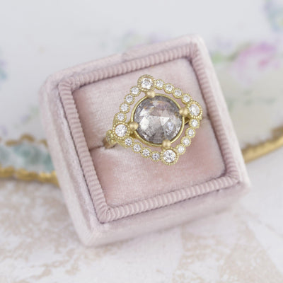Rose cut diamond ring grey