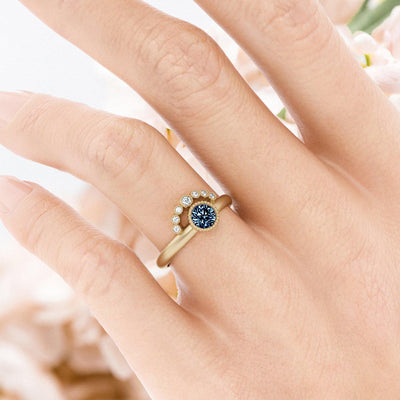 Adeline Teal Sapphire Engagement Ring