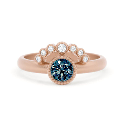 Adeline Montana Sapphire and Diamond Ring 14k Rose Gold