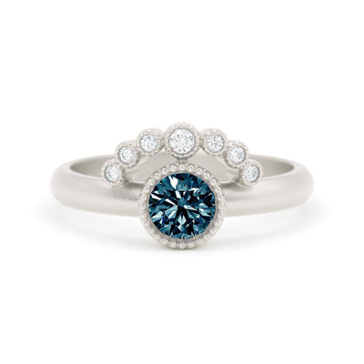 Montana Sapphire White Gold Ring - Teal Sapphire