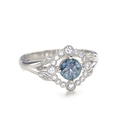 Teal Montana Halo Engagement Ring