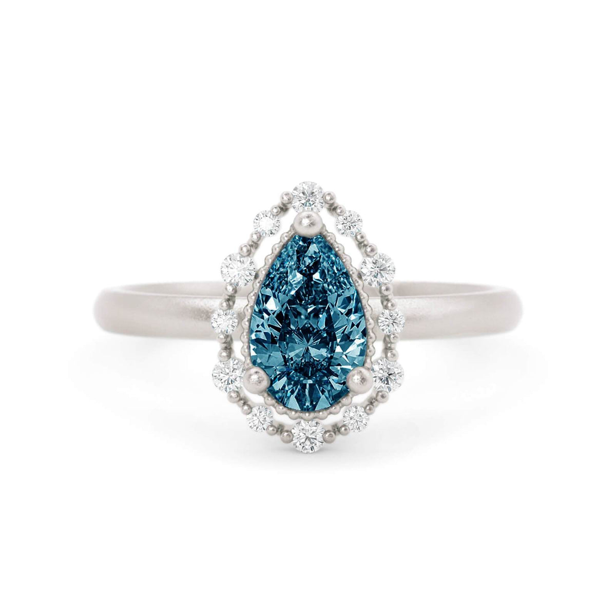 Amalie Montana Sapphire Engagement RIng White Gold