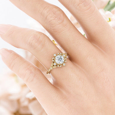 Anastasia Diamond Bohemian Engagement Ring on hand