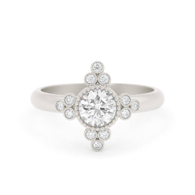Antoinette Vintage Inspired Diamond Ring  white gold