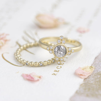 Antoinette Salt and Pepper Diamond Ring vintage inspired