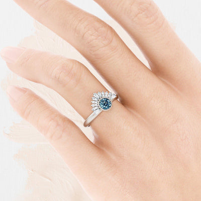 Aurora Art Deco Montana Sapphire Ring on womans hand