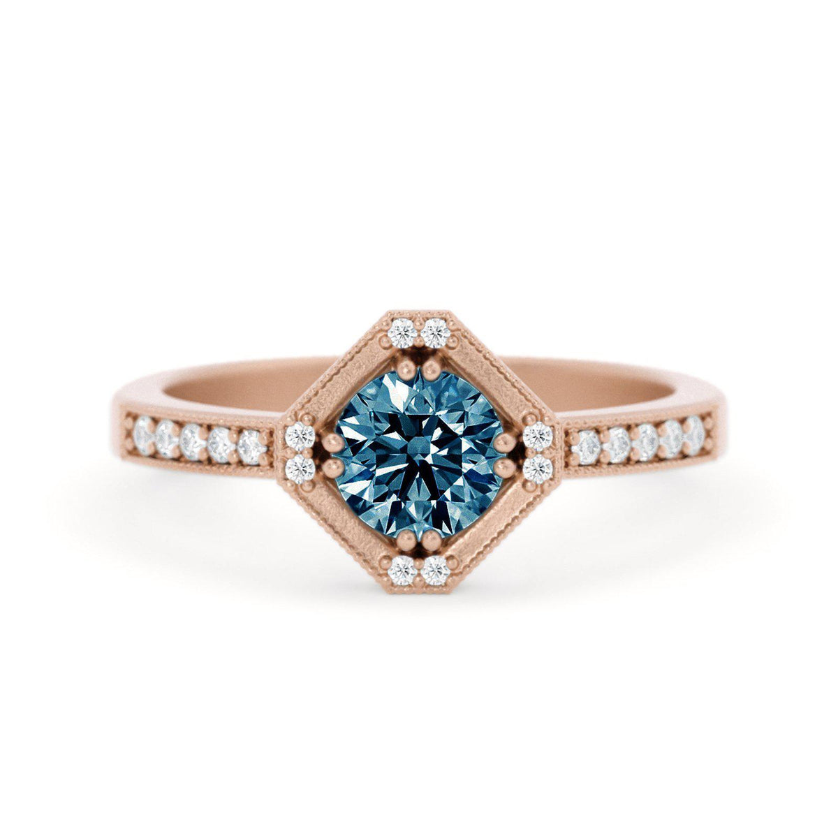 Beatrix Art Deco Montana Sapphire Ring Rose Gold
