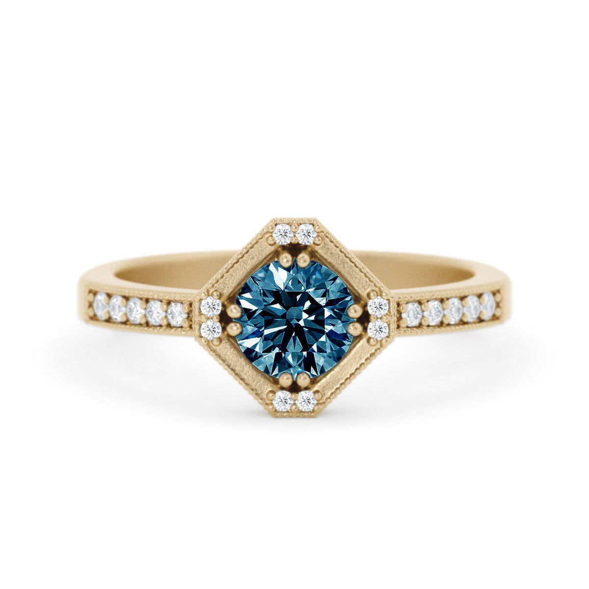 Beatrix Art Deco Montana Sapphire Ring Yellow Gold