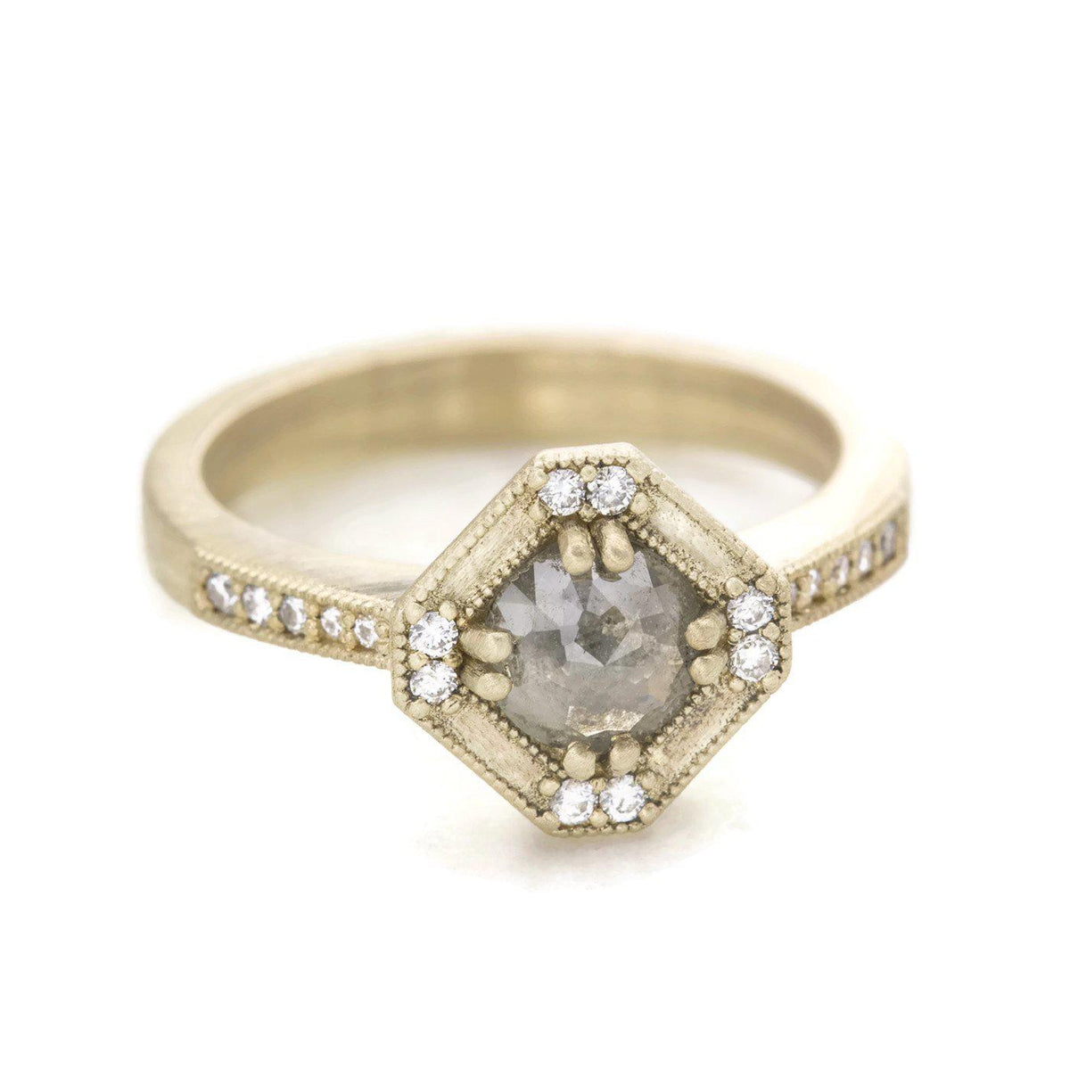 Beatrix Art Deco Ring Salt and Pepper Diamond Hexagon