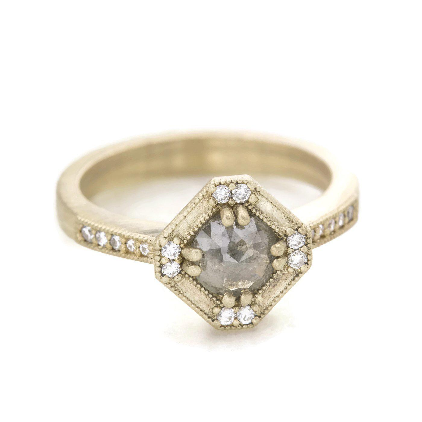 Beatrix Art Deco Ring Salt and Pepper Diamond