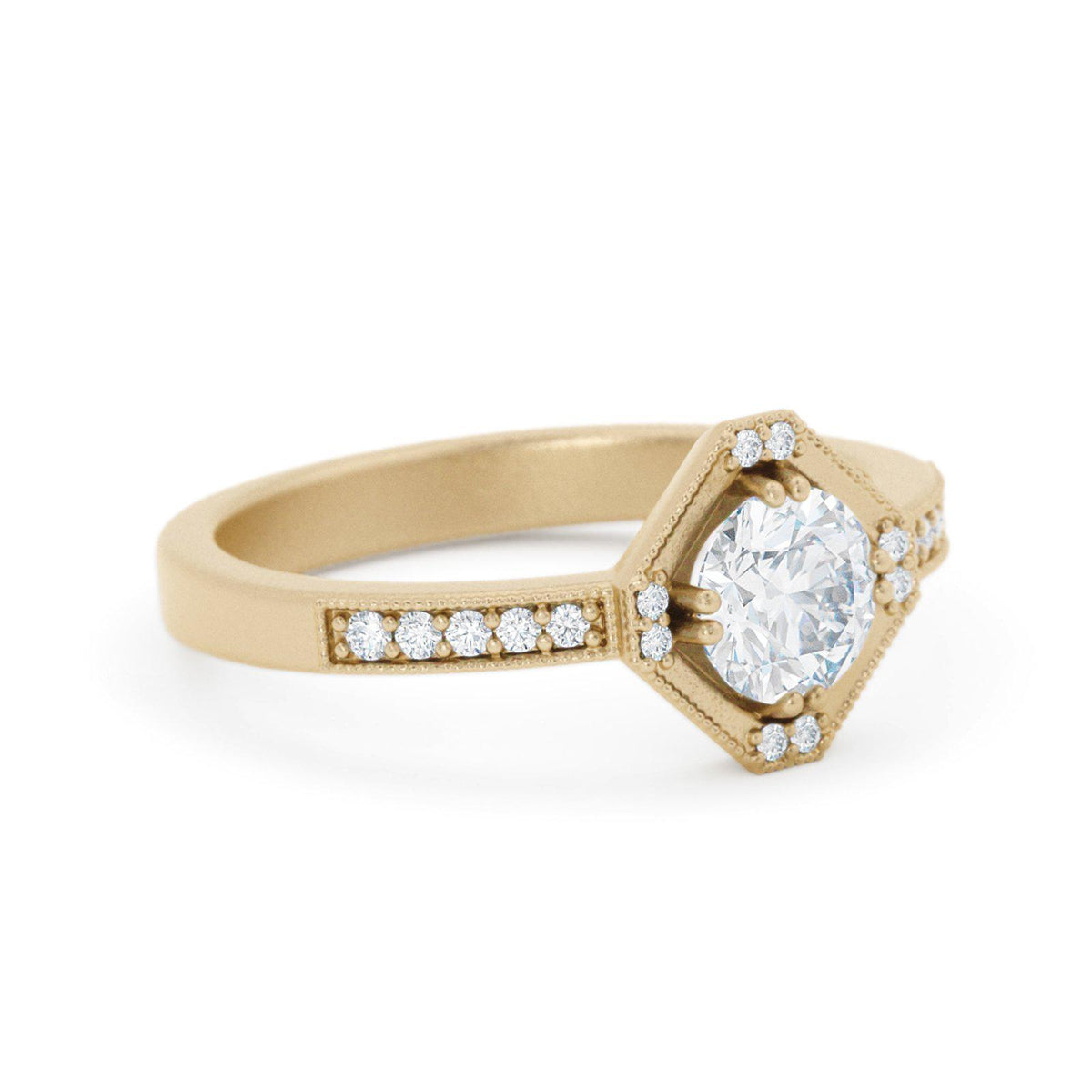 Beatrix Hexagon Diamond RIng 14k