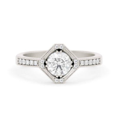 Beatrix Hexagon Diamond RIng White Gold