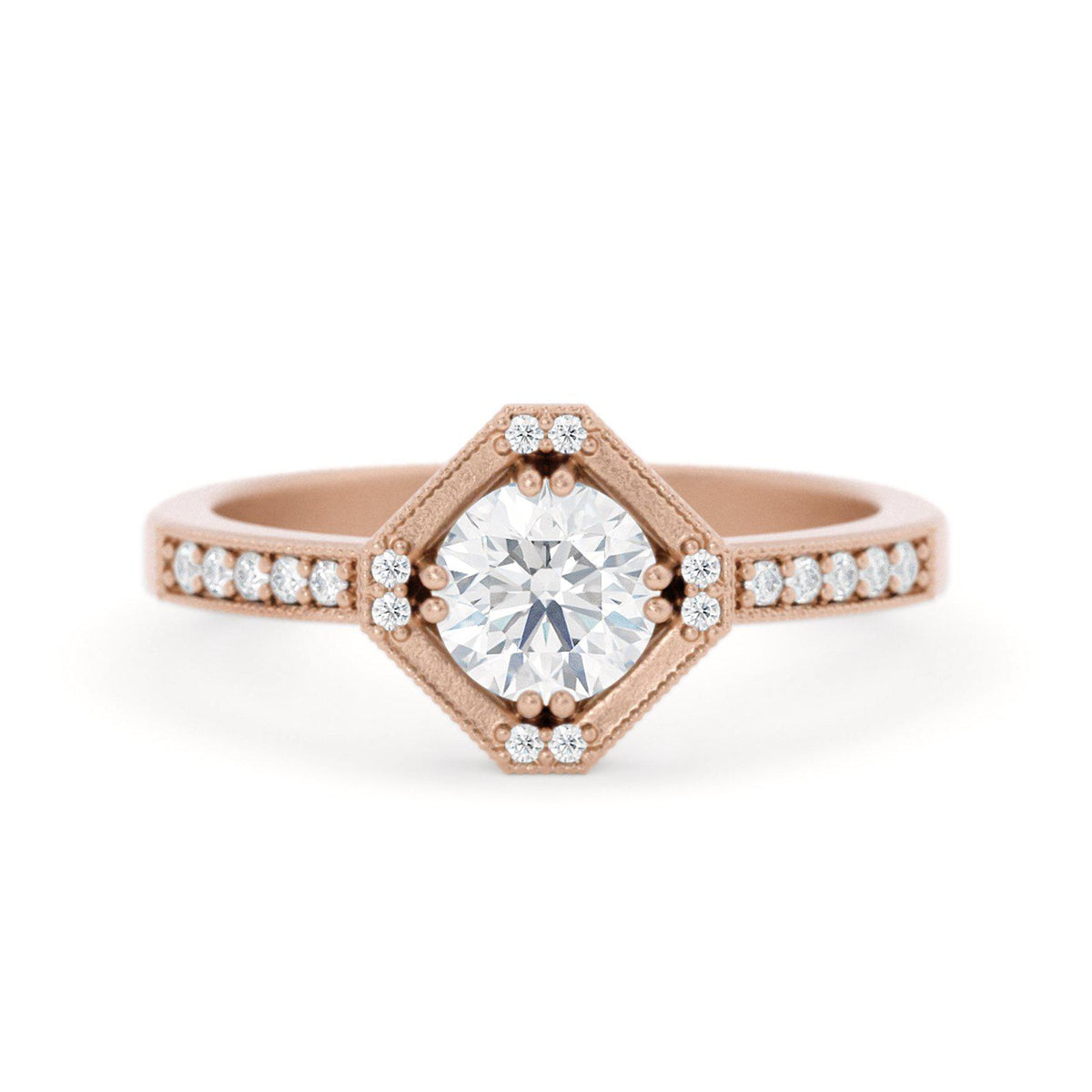 Beatrix Hexagon Diamond RIng Rose Gold