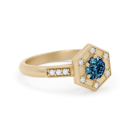Claudette Art Deco Montana Sapphire Ring Yellow Gold