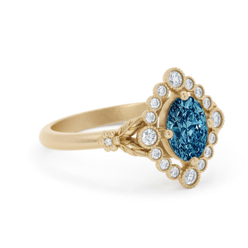Dahlilah Oval Montana Sapphire Ring Yellow Gold