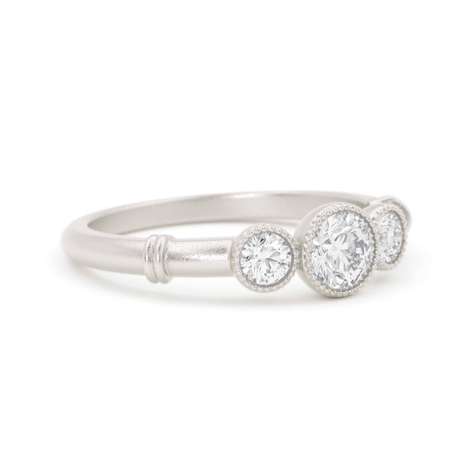 Deauville Diamond Three Stone Ring White Gold
