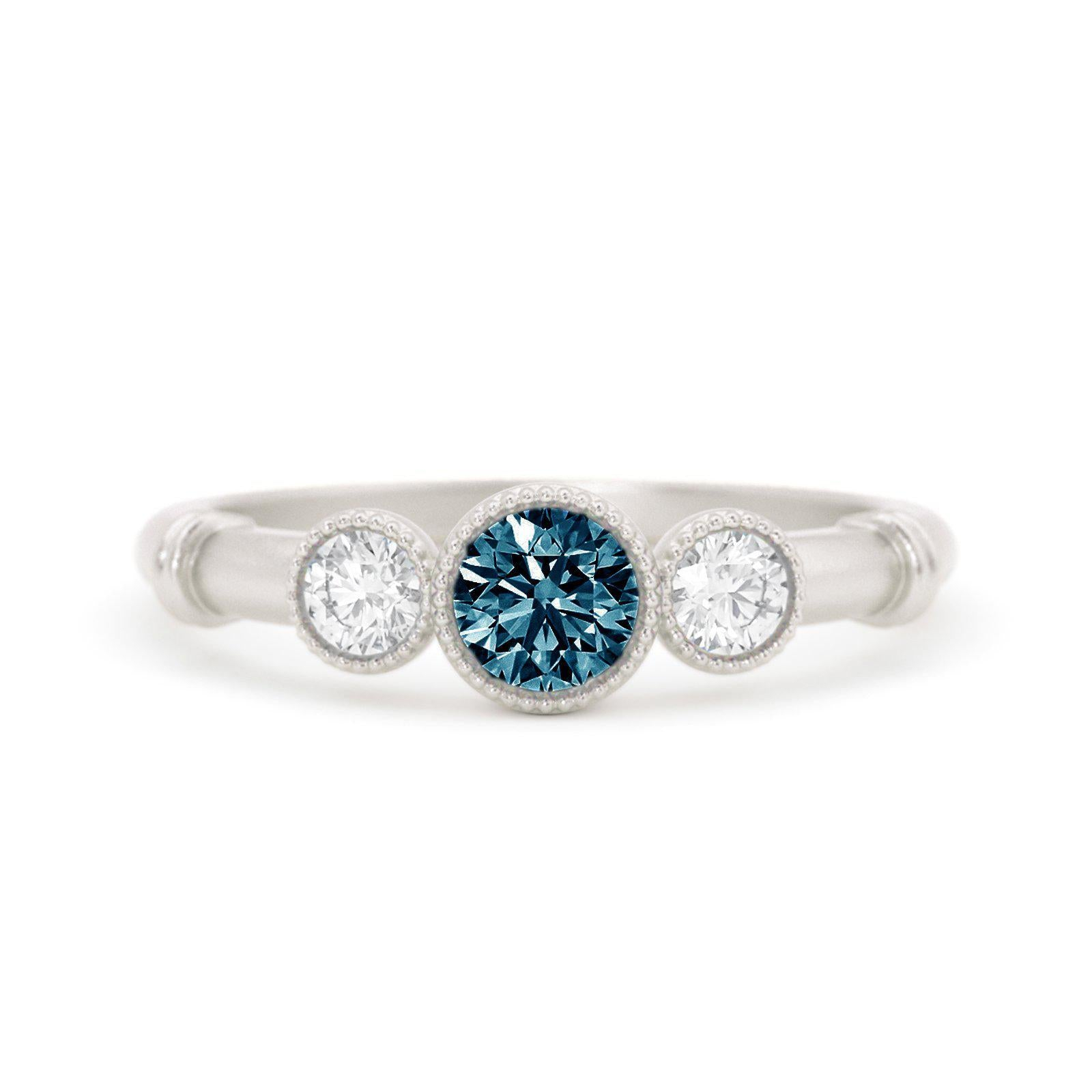 Deauville Montana Sapphire Three Stone Ring White Gold