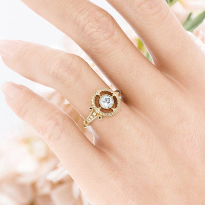 Emmaline Art Deco Diamond Ring on womens hand
