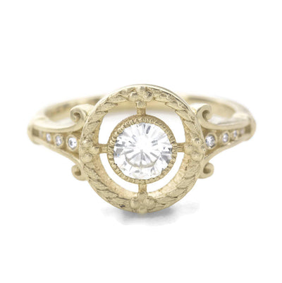 Emmaline Art Deco Diamond Ring with leaves
