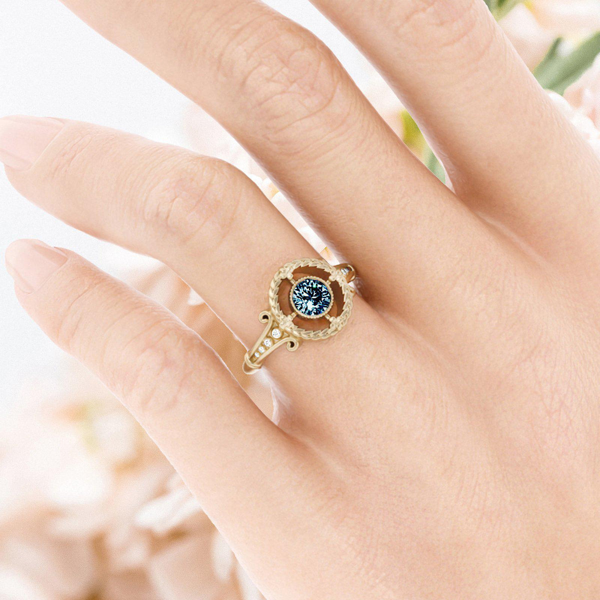 Emmaline Art Deco Montana Sapphire Ring yellow gold