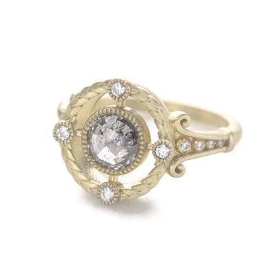 Emmaline Salt and Pepper Diamond Ring Art Deco Inspired