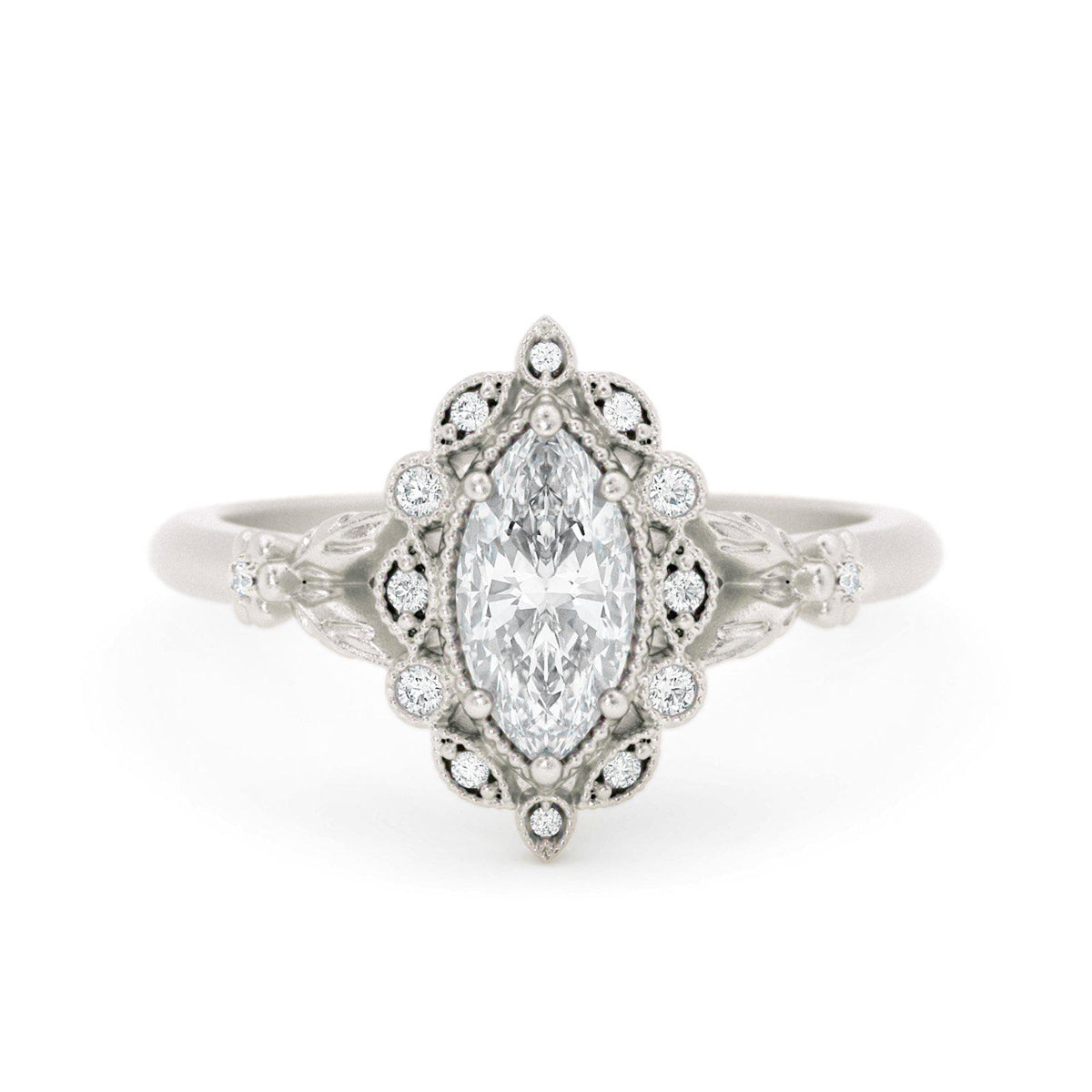 Filomina Marquise Halo Engagement Ring White Gold