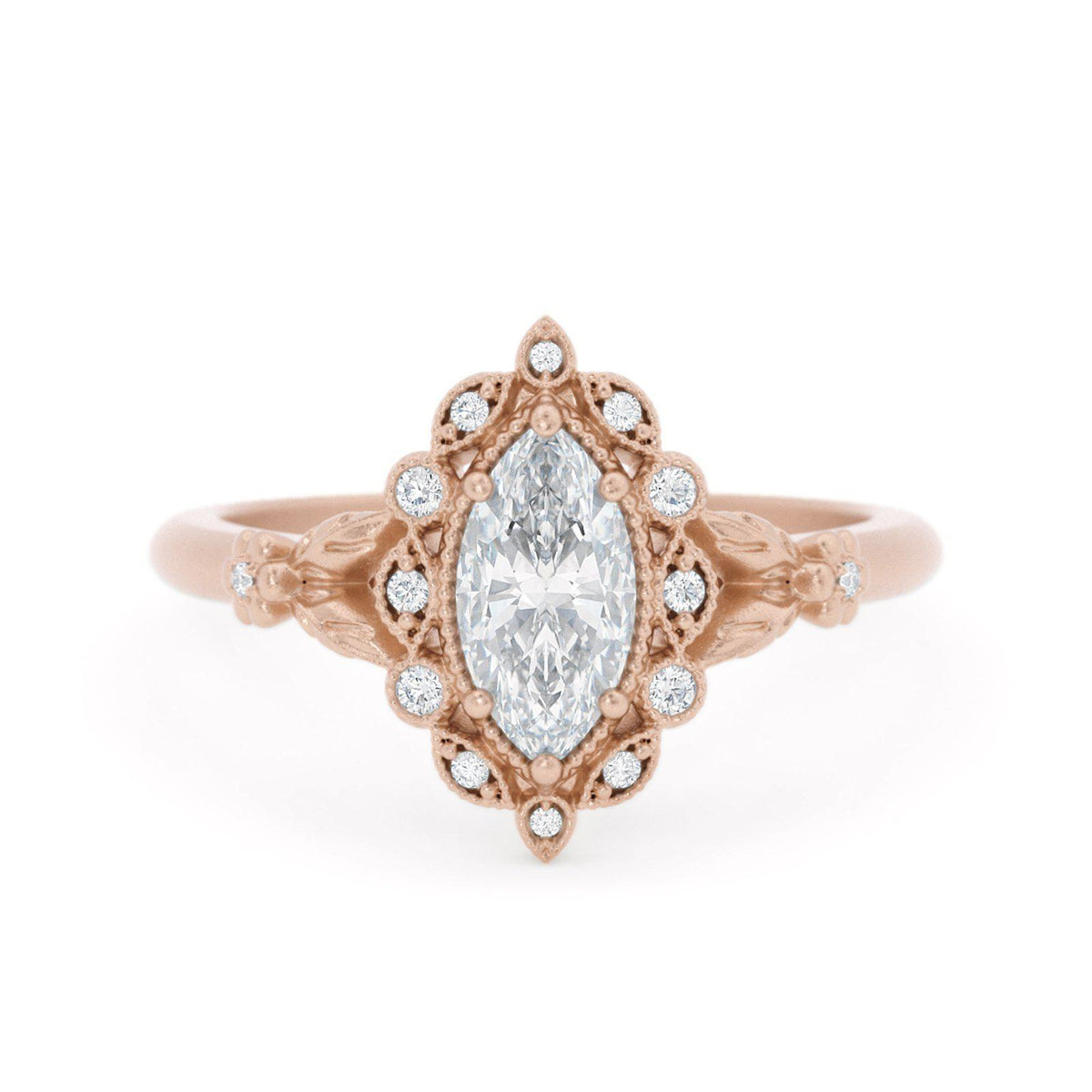 Filomina Marquise Halo Engagement Ring Rose Gold