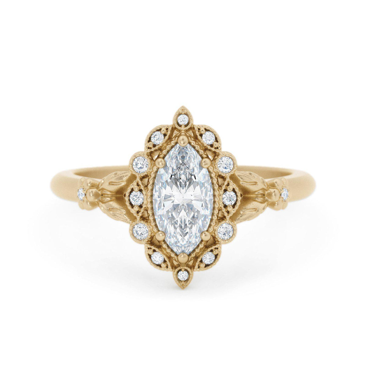 Filomina Marquise Halo Engagement Ring Yellow Gold