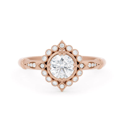 Frederica Diamond Halo Ring Rose Gold