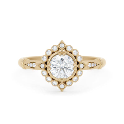 Frederica Diamond Halo Ring Vintage Inspired
