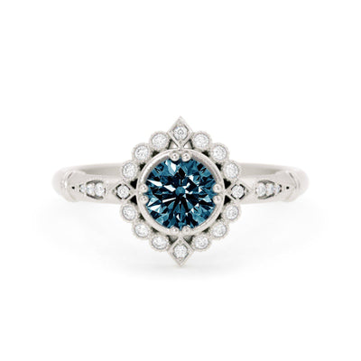Frederica Montana Sapphire Halo Ring White Gold