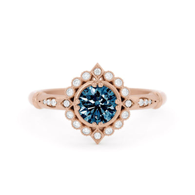 Frederica Montana Sapphire Halo Ring Rose Gold