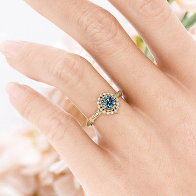 Frederica Montana Sapphire Halo Ring