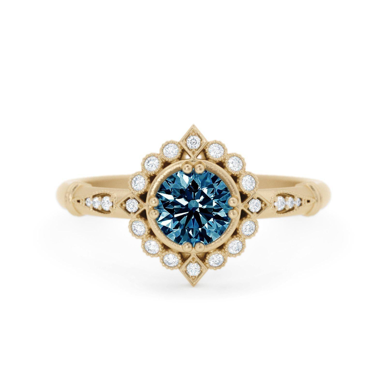 Frederica Montana Sapphire Halo Ring Yellow Gold