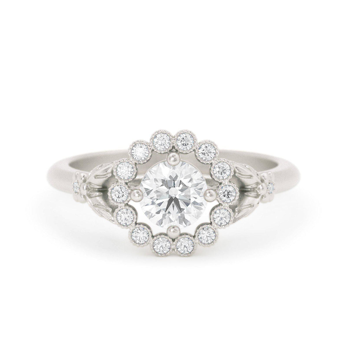 Gwendolyn Diamond Halo Ring White Gold