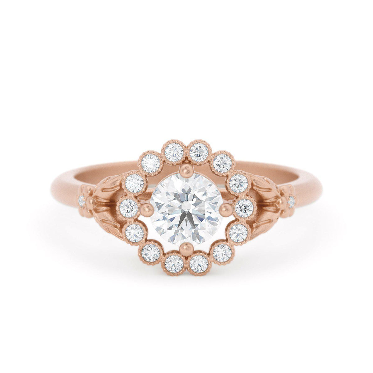 Gwendolyn Diamond Halo Ring Rose Gold