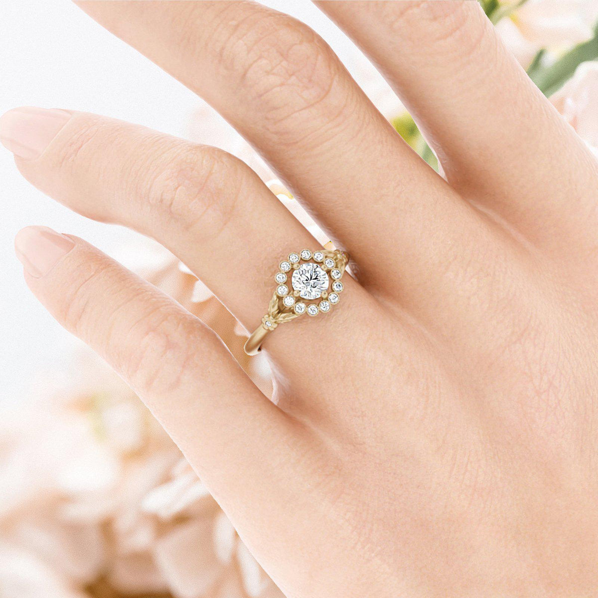Gwendolyn Diamond Halo Ring on hand