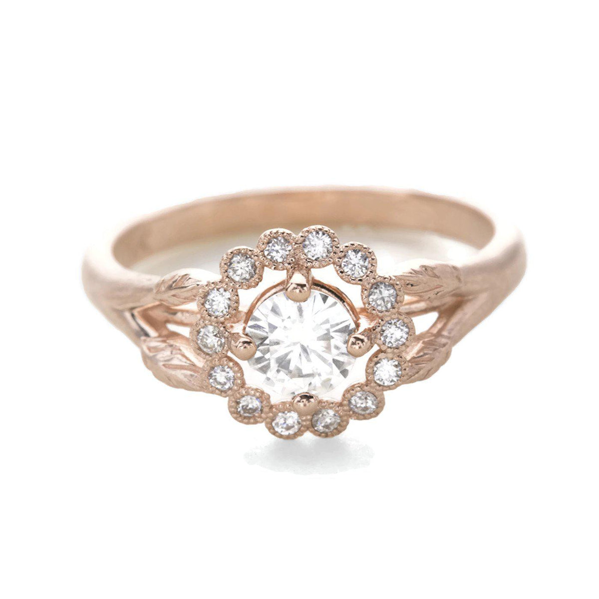 Gwendolyn Diamond Halo Ring 14k Rose Gold